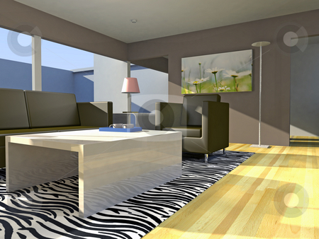 Flat stock photo, A illustration of a modern living room by Markus Gann