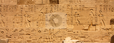 Luxor temple Hieroglyphic stock photo, A photography of an old historic place in Luxor Egypt Hieroglyphic by Markus Gann