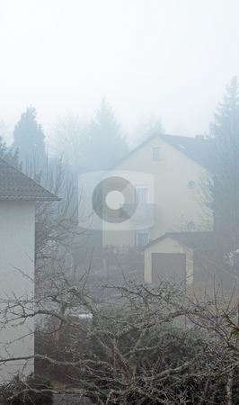 House in the mist stock photo, A photograph of a house in the mist. by Markus Gann