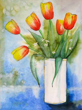 Tulips aquarella stock photo, A illustration of a vase with tulips by Markus Gann