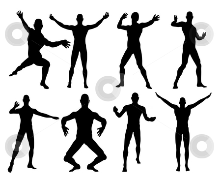 Black and white stock photo, An illustration of eight black and white men shapes by Markus Gann