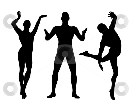 Three men shapes stock photo, An illustration of three men shapes black and white by Markus Gann