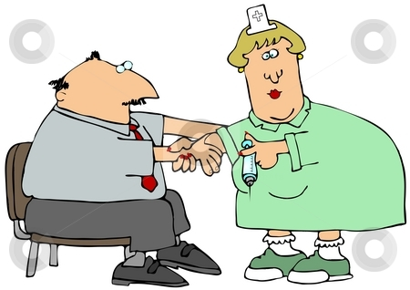 Shot In The Arm stock photo, This illustration depicts a nurse giving a man a shot in the arm. by Dennis Cox