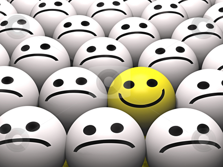 Smiley stock photo, A happy smiley stands out from the crowd by Norma Cornes
