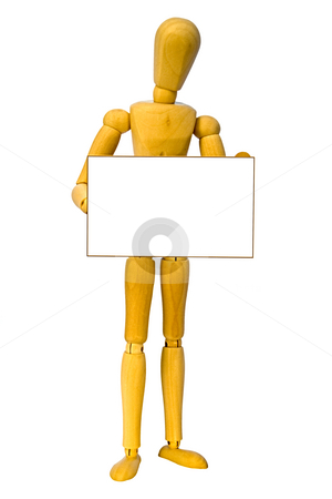 Wooden man stock photo, A wooden man holding a sign with space for your text. by Norma Cornes