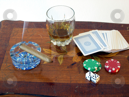 Bank of Bad Habits stock photo, Cards, poker chips, dice, Scotch whiskey, and a cigar. by Rob Wright