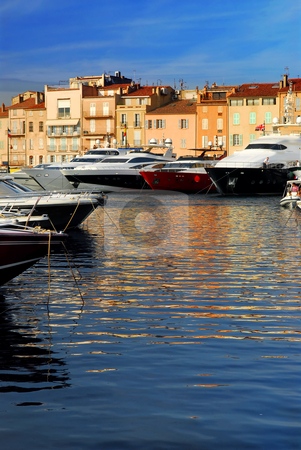 Boats at St.Tropez stock photo, Luxury boats docked in St. Tropez in French Riviera by Elena Elisseeva