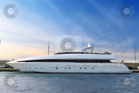 Luxury yacht stock photo, Large luxury yacht anchored at St. Tropez in French Riviera by Elena Elisseeva