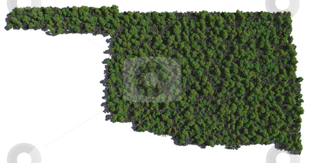 Oklahoma in Trees stock photo, The shape of Oklahoma grown in trees by Allan Tooley