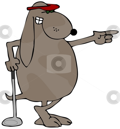 Golfer Dog stock photo, This illustration depicts a dog leaning on a golf club and pointing. by Dennis Cox