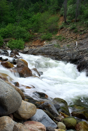 River Rapids stock photo, White water rapids on the south fork of the American river. by Lynn Bendickson