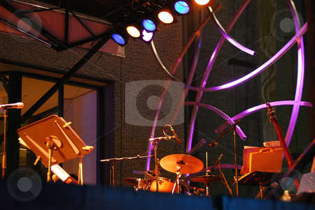 Outdoor stage music stock photo, Outdoor stage at jazz festival in Montreal by Elena Elisseeva