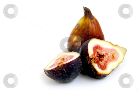 Fresh figs stock photo, Fresh figs on white background by Elena Elisseeva