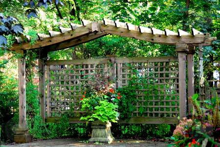 Japanese garden stock photo, Lush japanese garden with wooden gate structure by Elena Elisseeva