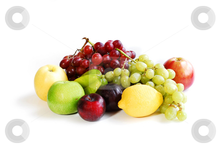 Assorted fruits stock photo, Assorted fruits on white background by Elena Elisseeva