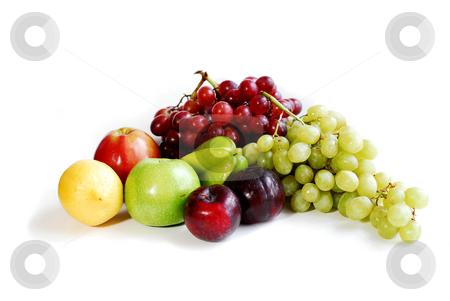 Fruits on white stock photo, Assorted fruits on white background by Elena Elisseeva