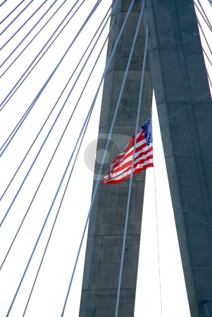 Zakim bridge, boston, massachusetts, urban architecture, sunset, , bridge silhouette, silhouette, sk stock photo, Detail of Leonard Zakim bridge in Boston with american flag by Elena Elisseeva