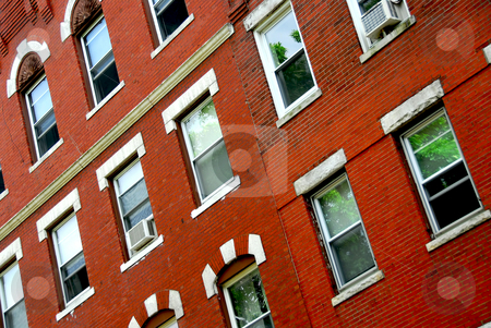 Boston house fragment stock photo, Fragment of a red brick house in Boston historical North End by Elena Elisseeva