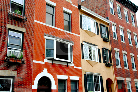 Boston street stock photo, Row of brick houses in Boston historical North End by Elena Elisseeva