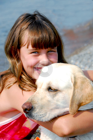 Girl with a dog stock photo, Portrait of a girl with a dog by Elena Elisseeva