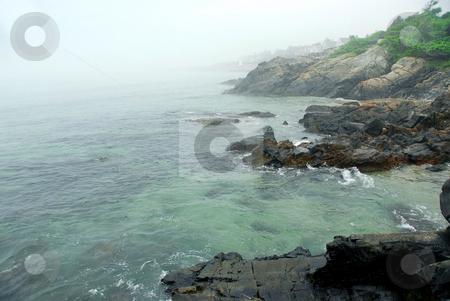 Foggy coast of Maine stock photo, Foggy coast of Atlantic ocean in Maine, USA by Elena Elisseeva