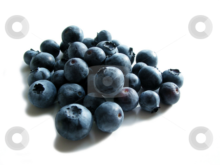 Blueberries on white stock photo, Fresh blueberries on white background by Elena Elisseeva