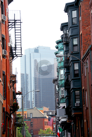 Boston street stock photo, Boston street - view from historical North End to downtown by Elena Elisseeva