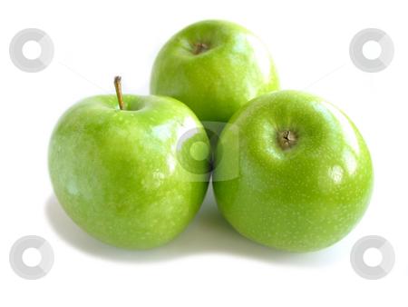Green apple white stock photo, Three green apples isolated on white background by Elena Elisseeva