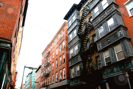 Townhouses on Boston street stock photo, Narrow street in Boston historical North End by Elena Elisseeva