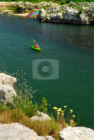 Kayaking in southern France stock photo, Kayaking on river Gard in southern France near Nimes by Elena Elisseeva