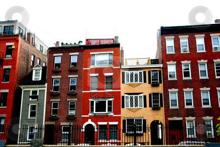 Boston houses stock photo, Row of brick houses in Boston historical North End by Elena Elisseeva