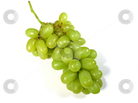 Green grapes bunch 1 stock photo, Bunch of green grapes isolated on white background by Elena Elisseeva