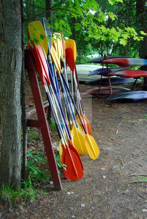 Kayak paddles stock photo, Kayak paddles and kayaks at camp by Elena Elisseeva
