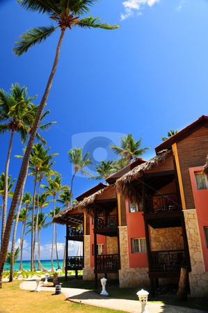 Tropical resort on ocean shore stock photo, Luxury tropical resort on ocean shore with palm trees by Elena Elisseeva