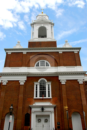 Old Church in Boston stock photo, Old brick church in Boston North End by Elena Elisseeva