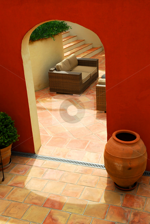Courtyard of a villa stock photo, Courtyard of mediterranean villa in French Riviera by Elena Elisseeva