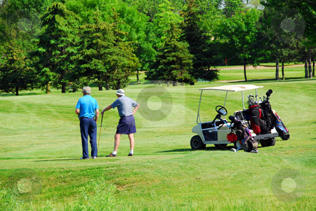 Seniors golfing stock photo, Two senior men on golf course by Elena Elisseeva