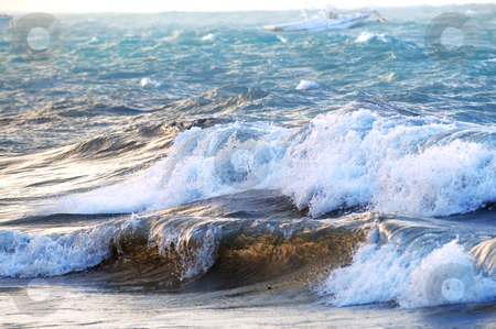 Stormy ocean stock photo, Big crashing waves in a stormy ocean by Elena Elisseeva
