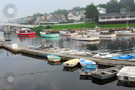 Boats in harbor stock photo, Fishing boats in a harbor in a small town in Maine, USA by Elena Elisseeva