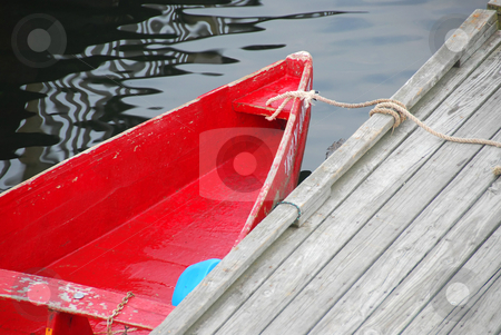 Red boat stock photo, Old red row boat tied to a pier in Perkins Cove, Maine by Elena Elisseeva
