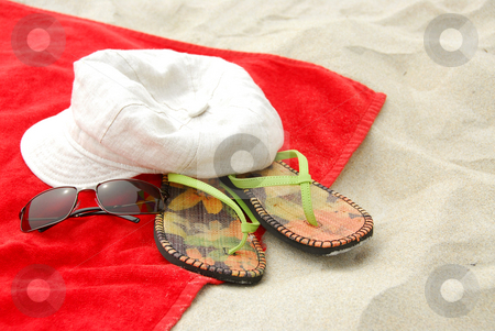 Beach items stock photo, Beach items on sand by Elena Elisseeva