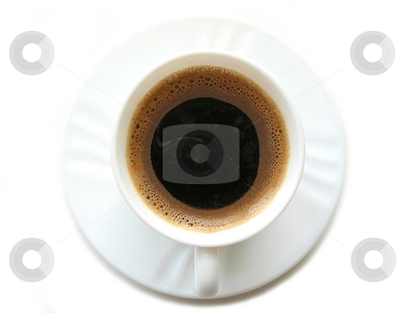 Cup of coffee 2 stock photo, Foamy espresso coffee in a white cup with saucer on white background, top view, space for text by Elena Elisseeva