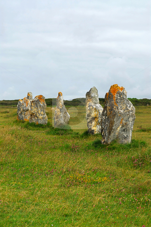 Megalithic monuments in Brittany stock photo, Prehistoric megalithic monuments menhirs in Brittany, France by Elena Elisseeva