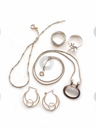 Silver jewelry stock photo, Silver jewelry on white background by Elena Elisseeva