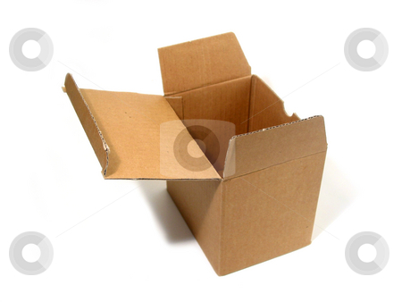Blank box open stock photo, Blank brown open cardboard box isolated on white background by Elena Elisseeva
