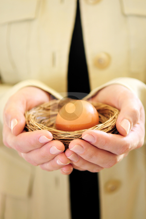 Hands holding nest with egg stock photo, Hands of a woman holding a nest with an egg by Elena Elisseeva