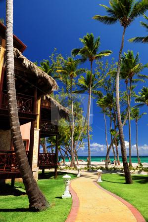 Tropical resort on ocean shore  stock photo, Luxury tropical resort on ocean shore with palm trees by Elena Elisseeva