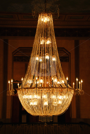 Chandelier stock photo, Beautiful chandelier in a hotel lobby by Elena Elisseeva