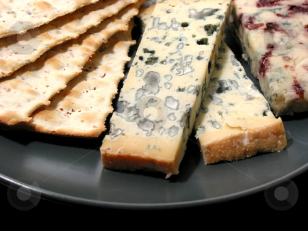 Blue cheese stock photo, Blue cheese and crackers on a plate by Elena Elisseeva