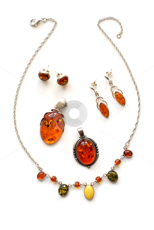 Amber jewelry stock photo, Amber jewelry on white background by Elena Elisseeva